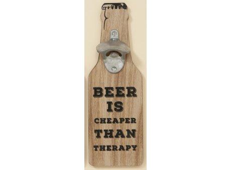 Flaschenöffner Henk mit Wandhalterung braun Holz Optik mit Spruch Beer is cheaper than therapy