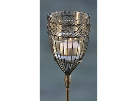 Gartenstab Windlicht Mira aus Metall Laterne mit Glas auf Stab