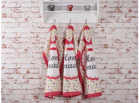 Geschirrhandtuch Home made mit bunten Blumen und weissen Punkten auf rot Krasilnikoff