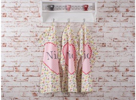 Geschirrhandtuch Nice mit bunten Blumen und rosa Herz Krasilnikoff