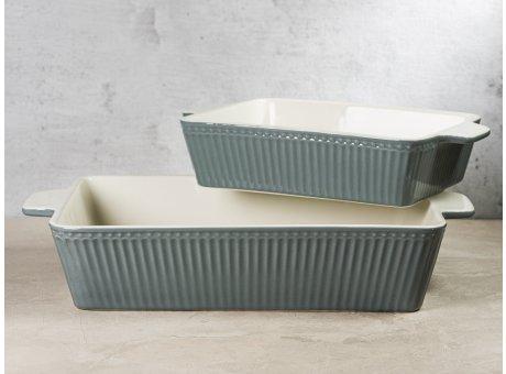 Greengate Auflaufform Schalen ALICE Stone Grey Grau Everyday Geschirr 2er Set Backform Hygge für jeden Tag