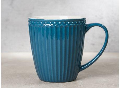 Greengate Becher ALICE Blau dunkelblau Kaffeebecher mit Henkel Everyday Keramik Geschirr Ocean Blue 400 ml Rillenmuster Hygge für jeden Tag