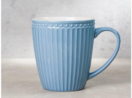 Greengate Becher ALICE Blau Kaffeebecher mit Henkel Everyday Keramik Geschirr Sky Blue 400 ml Rillenmuster Hygge für jeden Tag