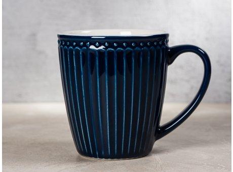 Greengate Becher ALICE Dunkelblau Kaffeebecher mit Henkel Everyday Keramik Geschirr Dark Blue 400 ml Rillenmuster Hygge für jeden Tag