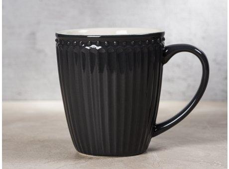 Greengate Becher ALICE Dunkelgrau Kaffeebecher mit Henkel Everyday Keramik Geschirr Dark Grey 400 ml Rillenmuster Hygge für jeden Tag