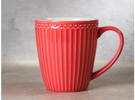 Greengate Becher ALICE Koralle Kaffeebecher mit Henkel Everyday Keramik Geschirr Coral 400 ml Rillenmuster Hygge für jeden Tag