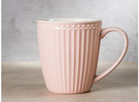 Greengate Becher ALICE Rosa Kaffeebecher mit Henkel Everyday Keramik Geschirr Pale Pink 400 ml Rillenmuster Hygge für jeden Tag