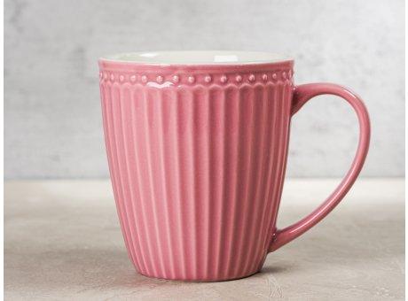 Greengate Becher ALICE Staubig Rosa Kaffeebecher mit Henkel Everyday Keramik Geschirr Dusty Rose 400 ml Rillenmuster Hygge für jeden Tag
