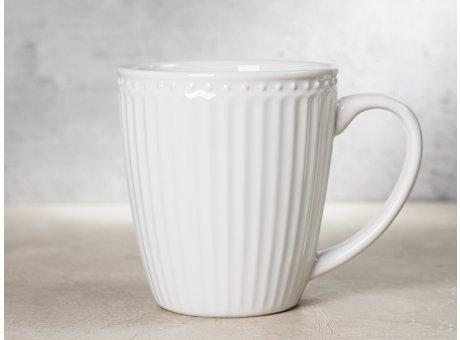 Greengate Becher ALICE Weiss Kaffeebecher mit Henkel Everyday Keramik Geschirr White 400 ml Rillenmuster Hygge für jeden Tag
