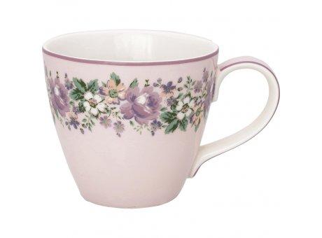 Greengate Becher MARIE DUSTY ROSE Rosa Weiss mit Blumen Porzellan Henkel Tasse 300 ml Greengate Design Nr STWMUGMAR1106