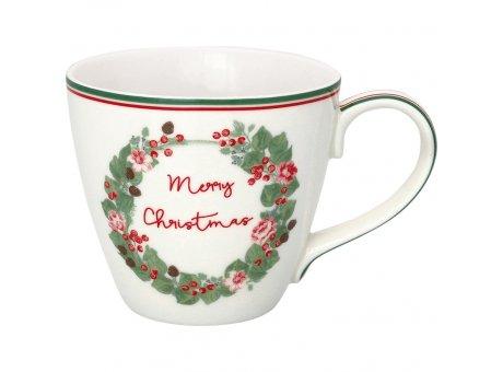 Greengate Becher MERRY CHRISTMAS Weiss Porzellan Henkel Tasse 300 ml Greengate Weihnachtsbecher Design Nr STWMUGMCR0106
