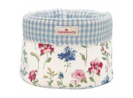 Greengate Brotkorb THILDE Weiss mit Blumen und Karo Muster Blau Baumwolle GG Produkt Nr COTBRBTHL0102