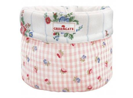Greengate Brotkorb VIOLA Pale Pink Check mit Blumen und Karo Muster Rosa Baumwolle GG Produkt Nr COTBRBVCH1902