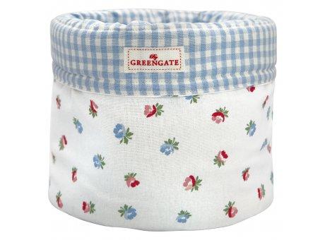 Greengate Brotkorb VIOLA Weiss mit Blumen und Karo Muster Blau Baumwolle GG Produkt Nr COTBRBVIO0102