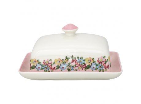Greengate Butterdose MADISON Rosa Weiss mit Blumen Butterschale Greengate Butter Glocke Nr STWBUTSMDS0104