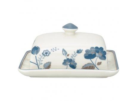 Greengate Butterdose MOZY Weiss mit Blumen Blau Butterschale Greengate Butter Glocke Nr STWBUTSMOZ0104