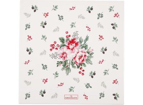 Greengate CHARLINE Untersetzer Eckig Weiß mit Blumen Porzellan Platte 22x22 cm Greengate Nr CERCSTSCHN0104