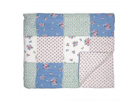 Greengate Decke NICOLINE Patchwork Blau Weiss 140x220 cm Baumwolle Greengate Quilt Design Nr QUIBED140NIC0102