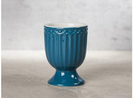 Greengate Eierbecher ALICE Blau dunkelblau Everyday Keramik Geschirr Ocean Blue 40ml Rillenmuster Hygge für jeden Tag