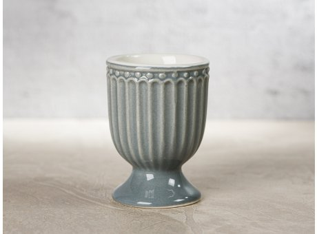 Greengate Eierbecher ALICE Grau Everyday Keramik Geschirr Stone Grey 40ml Rillenmuster Hygge für jeden Tag