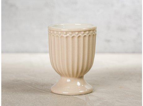 Greengate Eierbecher ALICE Karamel Beige Everyday Keramik Geschirr Creamy Fudge 40ml Rillenmuster Hygge für jeden Tag