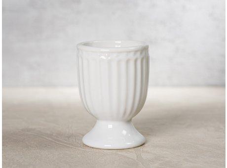 Greengate Eierbecher ALICE Weiss Everyday Keramik Geschirr White 40ml Rillenmuster Hygge für jeden Tag