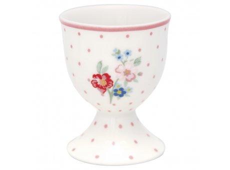 Greengate Eierbecher EJA Weiss Porzellan mit Blumen und Rosa Punkte 40ml Greengate Produkt Nr. STWEGCEJA0106
