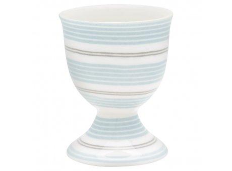 Greengate Eierbecher TOVA Hellblau aus Porzellan weiß mit Streifen Blau 40ml Greengate Produkt Nr. STWEGCTOV2906