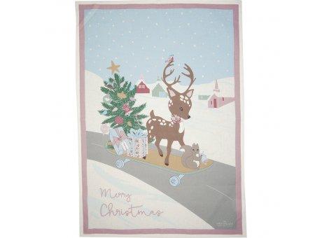 Greengate Geschirrtuch BAMBI Merry Christmas mit Tannenbaum Weiss Baumwolle 50x70 Greengate Geschirrhandtuch Nr COTTEAPPBSN0112