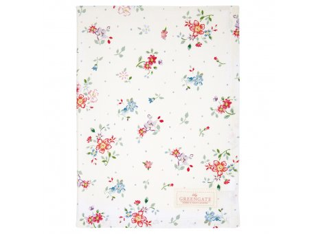 Greengate Geschirrtuch BELLE Weiss mit Blumen Baumwolle 50x70 Greengate Produkt Nr COTTEABLL0112