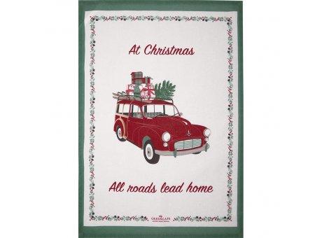 Greengate Geschirrtuch CHARLINE Christmas Auto Rot Baumwolle 50x70 Greengate Geschirrhandtuch Nr COTTEAPPCLC0112