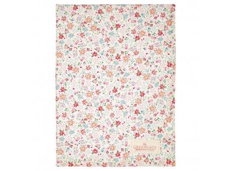 Greengate Geschirrtuch CLEMENTINE Weiss mit bunten Blumen Baumwolle 50x70 Greengate Produkt Nr COTTEACLM0112