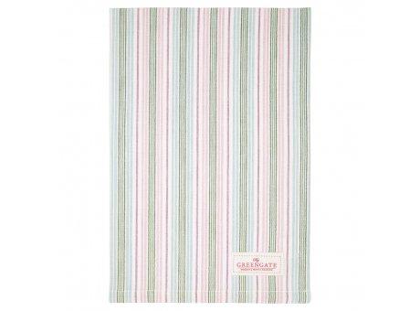 Greengate Geschirrtuch EDDA Weiss mit Streifen Rosa Blau Grün Baumwolle 50x70 Greengate Produkt Nr COTTEAEDD0112