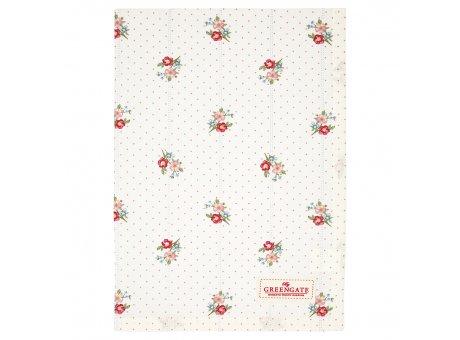Greengate Geschirrtuch EJA Weiss mit Blumen und kleinen Punkten Baumwolle 50x70 Greengate Produkt Nr COTTEAEJA0112