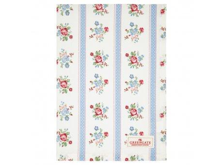 Greengate Geschirrtuch EVIE Weiss mit Blumen und Streifen Blau Baumwolle 50x70 Greengate Produkt Nr COTTEAEVI0112