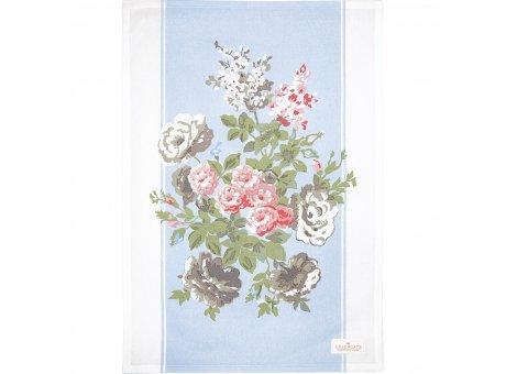 Greengate Geschirrtuch Petricia Pale Blue Blau mit Blumen Baumwolle 50x70 Greengate Küchentuch Nr COTTEAPPPET2912