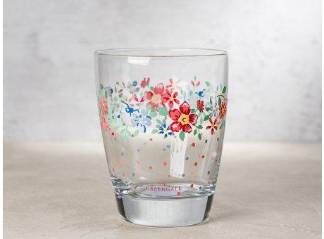 Greengate Glas CLEMENTINE mit Blumen und Punkten Wasserglas Klarglas 300 ml 9,5 cm hoch