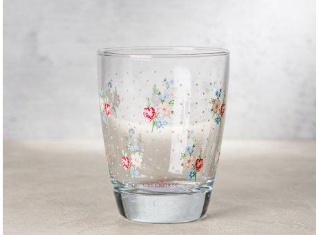 Greengate Glas EJA mit kleinen Blumen und rosa Punkten Wasserglas Klarglas 300 ml 9,5 cm hoch