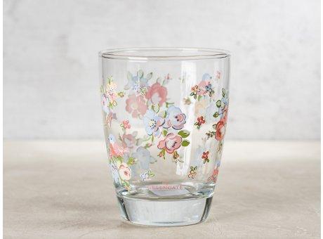 Greengate Glas ELLIE mit Blumen und Vögeln Wasserglas Klarglas 300 ml 9,5 cm hoch