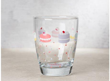 Greengate Glas MADELYN mit bunten Torten Wasserglas Klarglas 300 ml 9,5 cm hoch