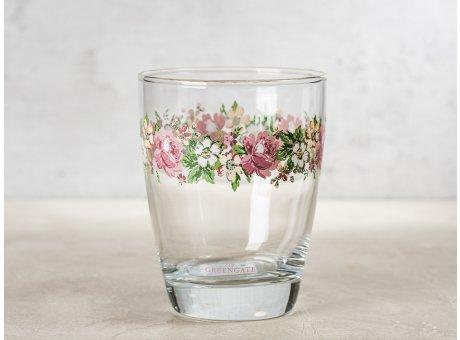 Greengate Glas MARIE mit Blumen Muster Wasserglas Klarglas 300 ml 9,5 cm hoch