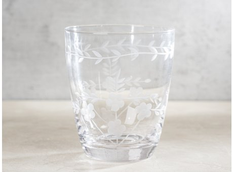 Greengate Glas mit Muster geschliffen Wasserglas Klar modernen Chic und Nostalgie Design