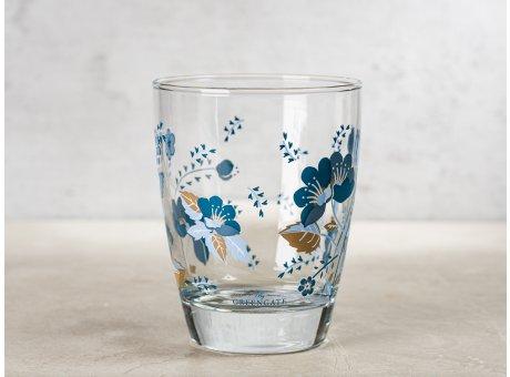 Greengate Glas MOZY mit Blumen in Blau Wasserglas Klarglas 300 ml 9,5 cm hoch