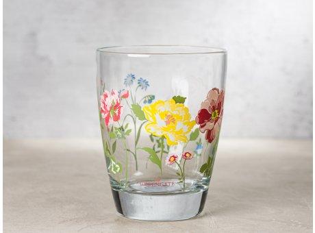 Greengate Glas THILDE mit grossen Blumen Wasserglas Klarglas 300 ml 9,5 cm hoch
