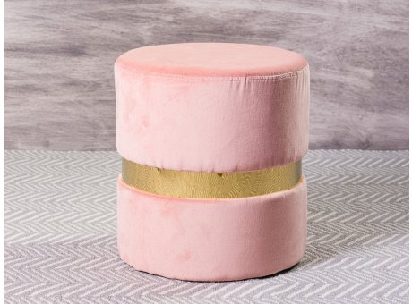 Greengate Hocker Rosa Samt Gold Ring Gate Noir Pouf Pink 35 x 35 x 39 cm