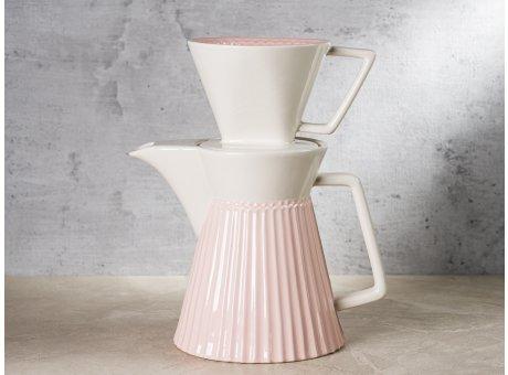 Greengate Kaffeekanne ALICE mit Filter Keramikfilteraufsatz Melita Rosa Everyday Keramik Geschirr Pale Pink Coffee Pot Rillenmuster Hygge für jeden Tag