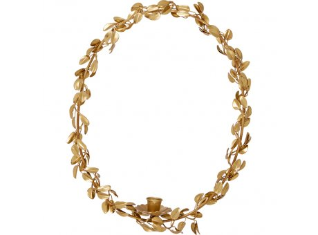 Greengate Kerzenhalter Blätter Kranz Gold zum Hängen 32x40cm Metall Rund für 1 Kerze Greengate Deko Nr BRACANILHLEA6004