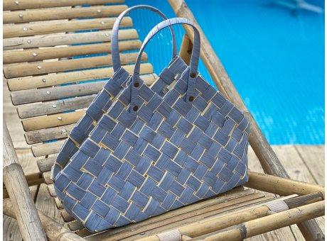Greengate Korbtasche Klein aus Weide in Blau als Tasche Einkaufskorb oder Aufbewahrungskorb im Flecht Design mit 2 Henkeln