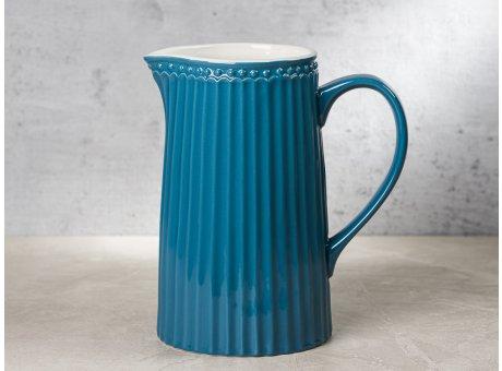 Greengate Krug ALICE Blau dunkelblau Kanne Everyday Keramik Geschirr Ocean Blue 1 Liter Rillenmuster Hygge für jeden Tag