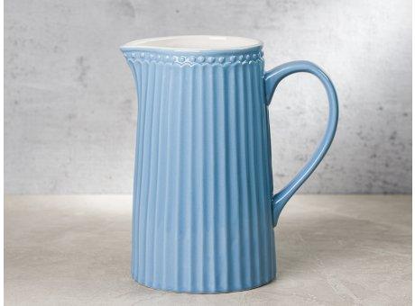 Greengate Krug ALICE Blau Kanne Everyday Keramik Geschirr Sky Blue 1 Liter Rillenmuster Hygge für jeden Tag